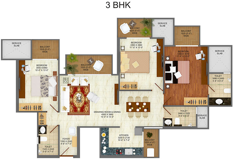 saviour greenarch floor plan 3bhk+3toilet 1630 sqft
