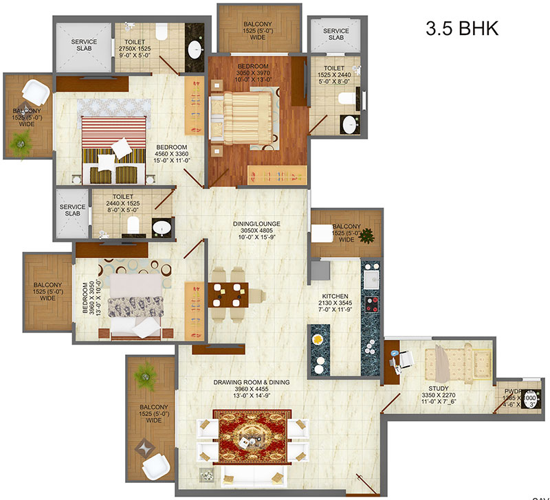 saviour greenarch floor plan 3bhk+3toilet 1890 sqft