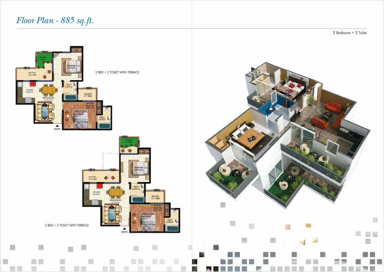 amarpali 02 valley floor plan 2bhk 2toilet 885 sqft