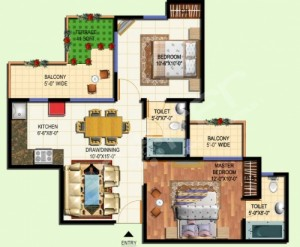 amrapali tropical garden floor plan 2bhk-2toilet