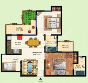 amrapali tropical garden floor plan 2bhk,2toilet