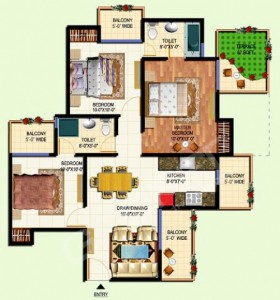 amrapali tropical garden floor plan 3bhk 2toilet