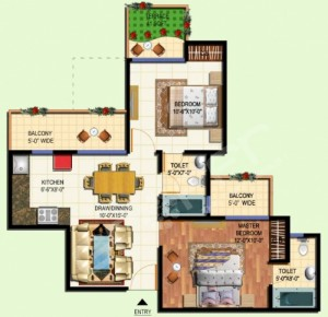 amrapali tropical garden floor plan2bhk 2toilet