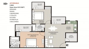 gaytri aura floor plan 2bhk 2toilet 1015 sqft