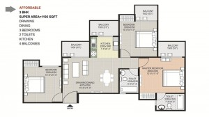 gaytri aura floor plan 3bhk 2toilet 1195 sqft