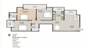 gaytri aura floor plan 3bhk 2toilet 1485 sqft