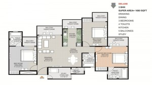 gaytri aura floor plan 3bhk 4toilet 1480 sqft