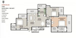 gaytri aura floor plan 3bhk 4toilet 1895 sqft