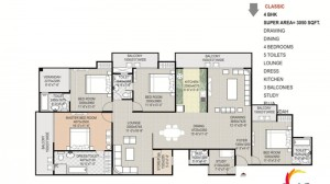 gaytri aura floor plan 4bhk 5toilet 3050 sqft