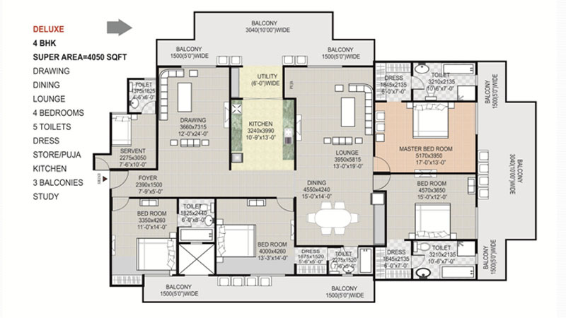 gaytri aura floor plan 4bhk 5toilet 4050 sqft