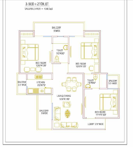 nirala greenshire floor plan 3bhk 2toilet 1380 sqft