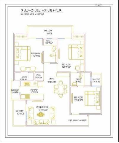 nirala greenshire floor plan 3bhk 32toilet 1557 sqft