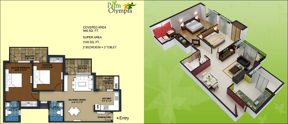 palm olympia floor plan 2bhk 2toilet 1145 sqft