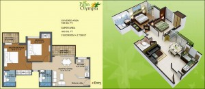 palm olympia floor plan 2bhk 2toilet 729 sqft
