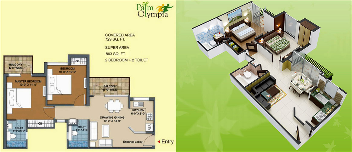 palm olympia floor plan 2bhk 2toilet 729 sqft