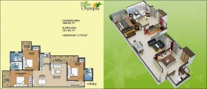 palm olympia floor plan 3bhk 3toilet 1317 sqft
