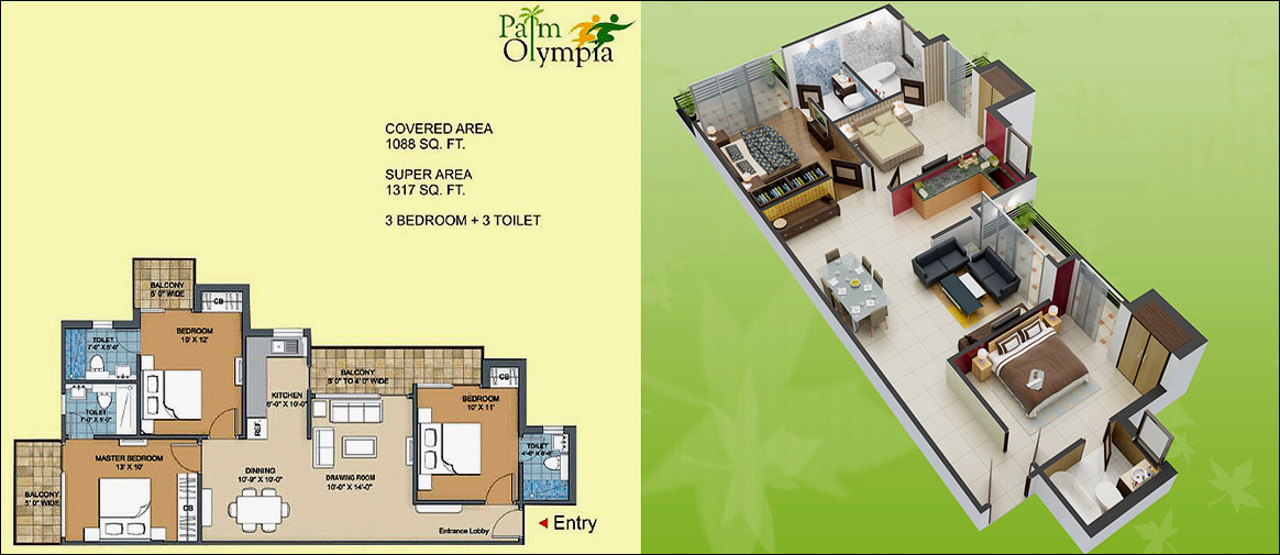 palm olympia floor plan 3bhk 3toilet 1317 sqft