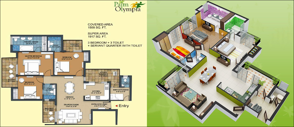 palm olympia floor plan 3bhk 3toilet 1917 sqft