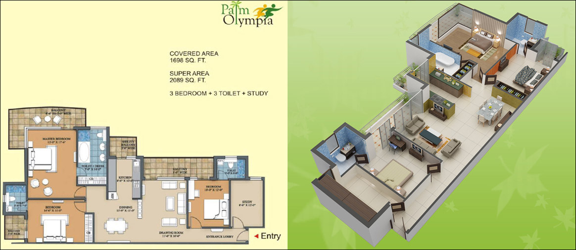 palm olympia floor plan 3bhk 3toilet 2089 sqft