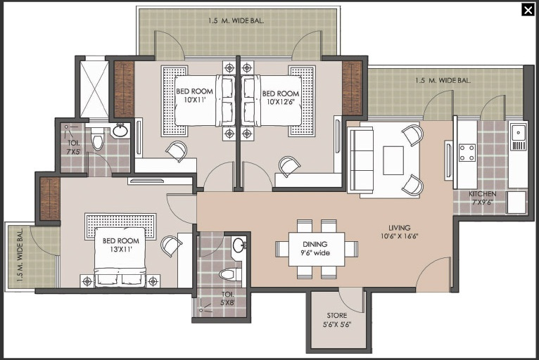 patel new town floor plan 3bhk 2 toilet