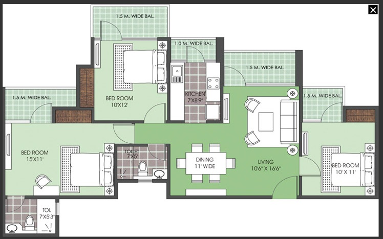 patel new town floor plan 3bhk 2toilet.