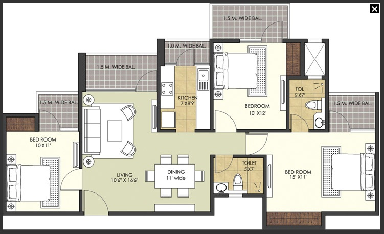 patel new town floor plan 3bhk 2toilet
