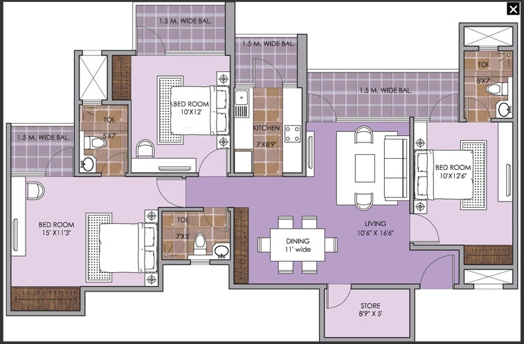 patel new town floor plan 3bhk 3 toilet