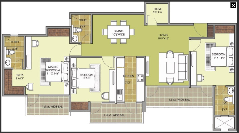patel new town floor plan 3bhk 3toilet..