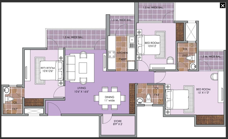 patel new town floor plan 3bhk 3toilet.