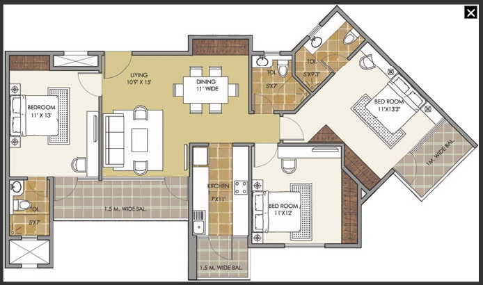 patel new town floor plan 3bhk 3toilet