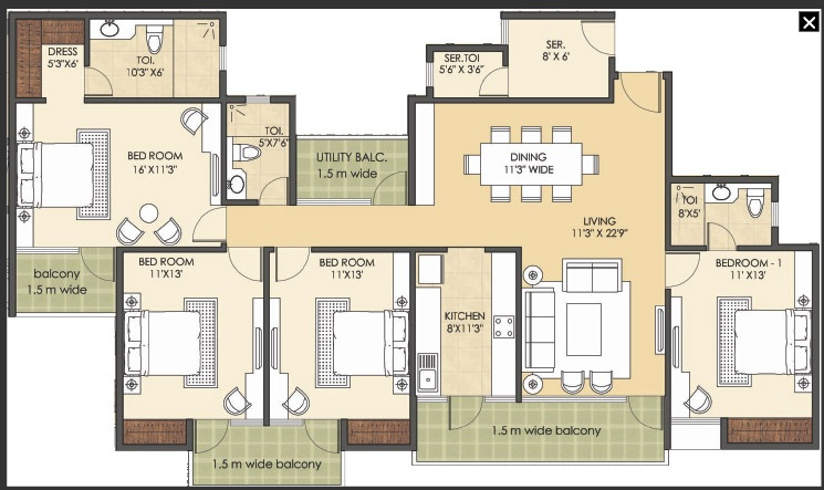 patel new town floor plan 4bhk 3toilet