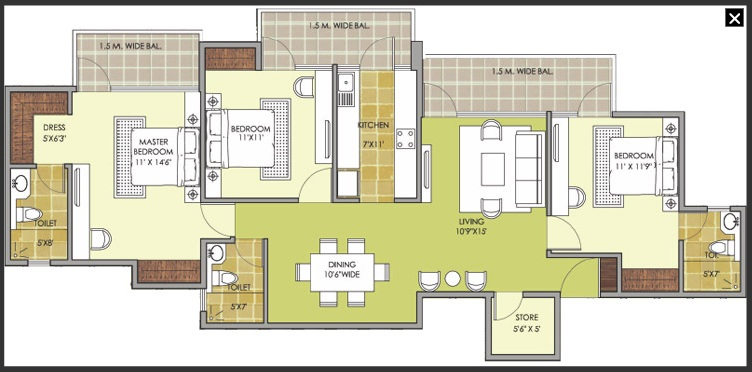 patel new town floor plan3bhk 3toilet