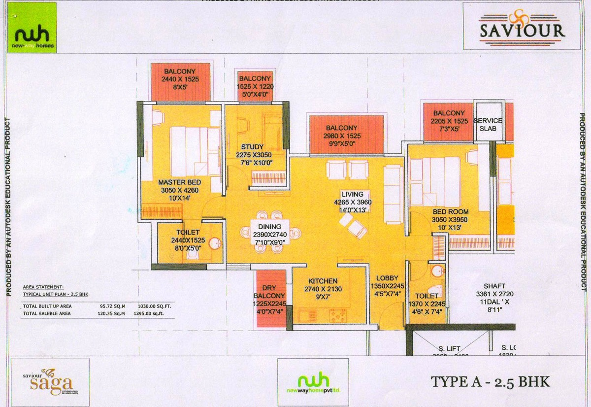 saviour saga floor plan 2bhk 2toilet  1295 sqft