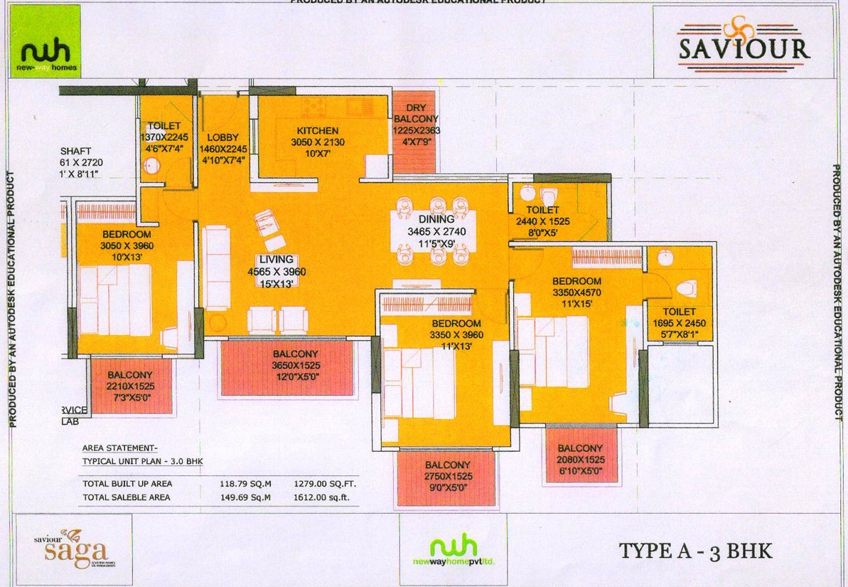 saviour saga floor plan 3bhk 3toilet  1612 sqft