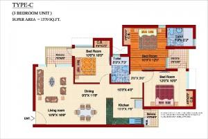 shubhkamna .city floor plan 3bhk 2toilet 1370 sqft