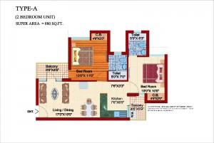 shubhkamna city floor plan 2bhk 2toilet 880 sqft