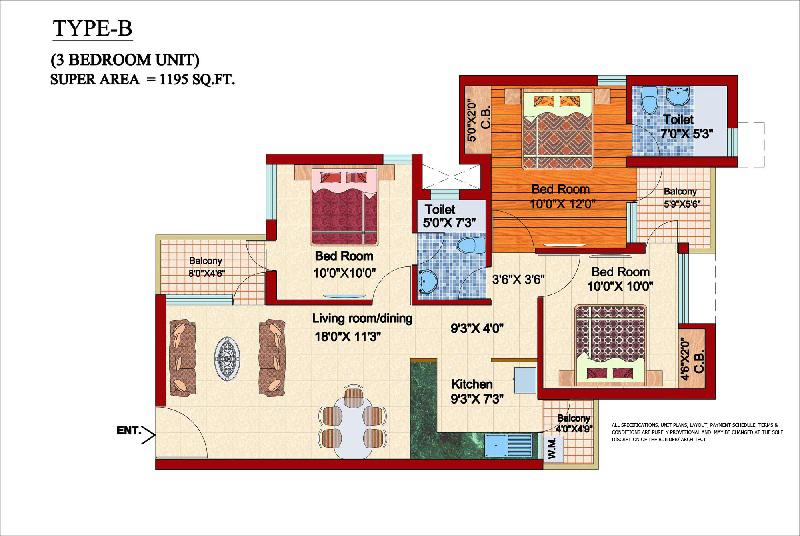 shubhkamna city floor plan 3bhk 2toilet 1195 sqft