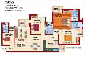 shubhkamna city floor plan 3bhk 3toilet 1675 sqft
