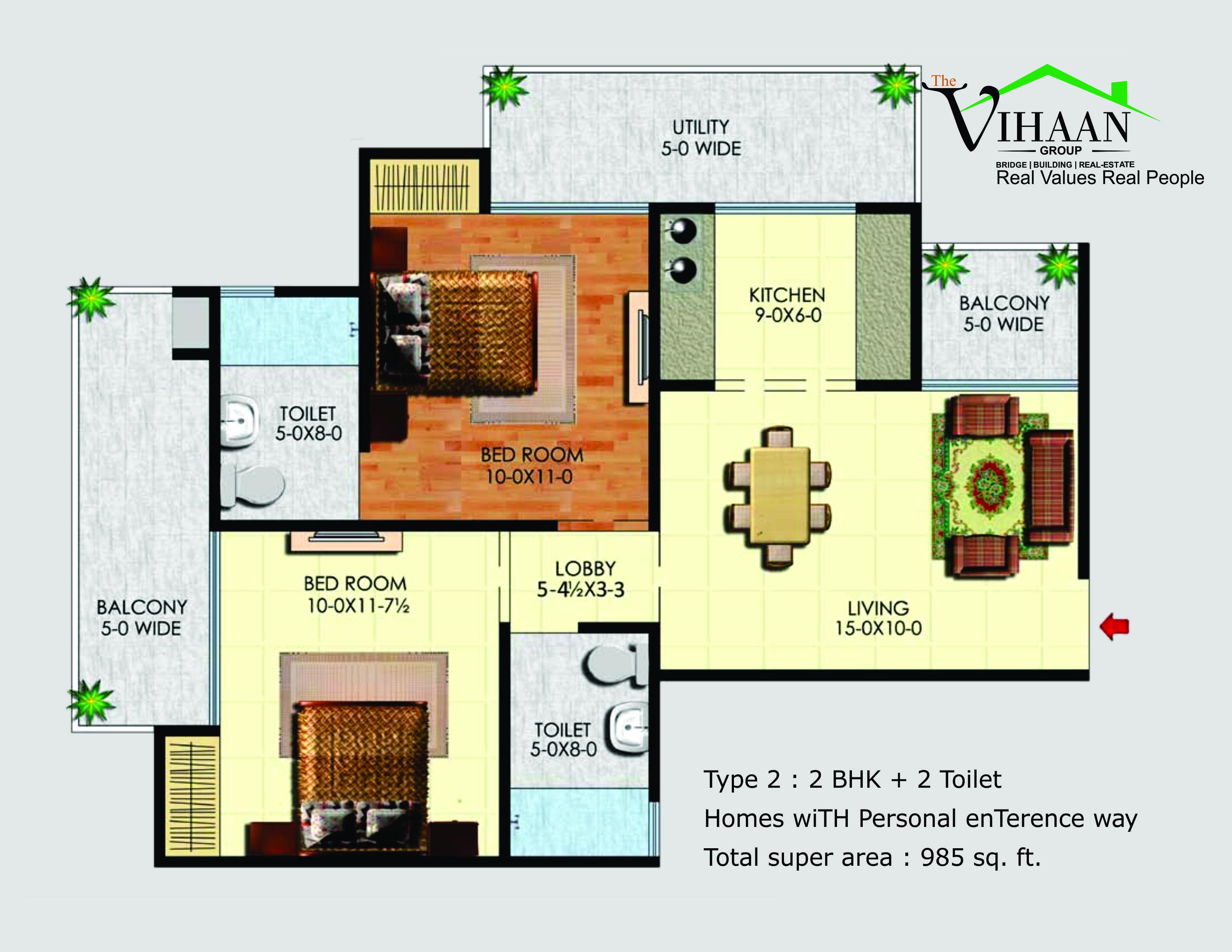vihaan greens floor plan 2bhk 2toilet 985 sqft