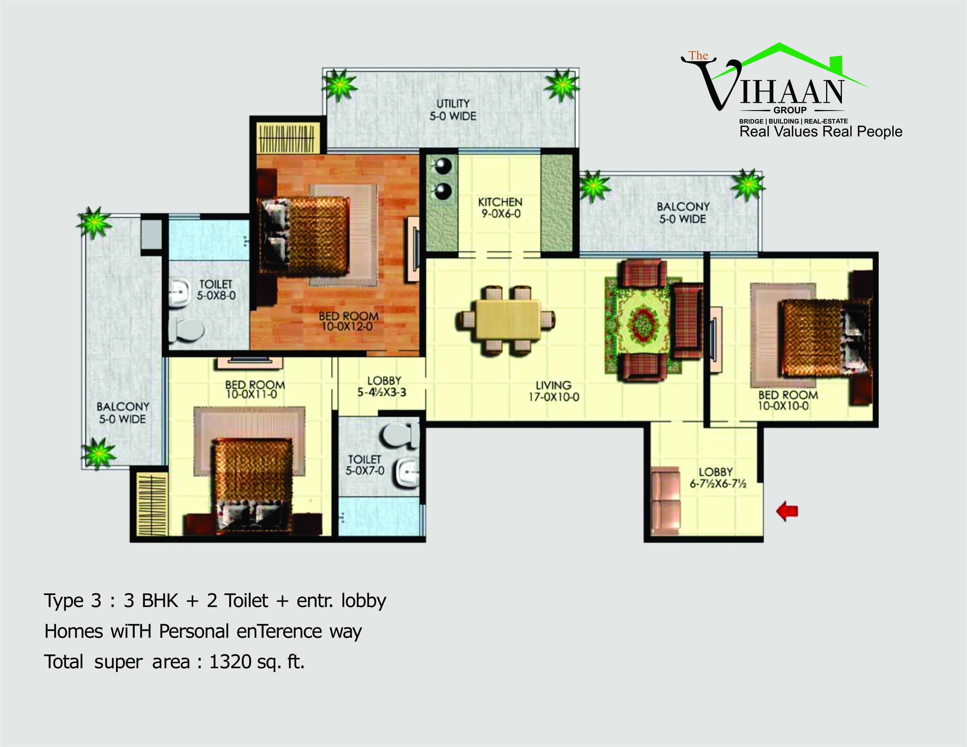 vihaan greens floor plan 3bhk 2toilet 1320 sqft