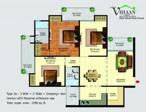 vihaan greens floor plan 3bhk 2toilet 1590 sqft