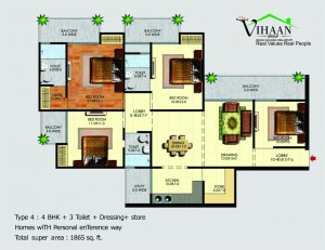 vihaan greens floor plan 4bhk 3toilet 1865 sqft
