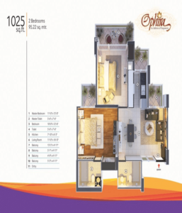 mangalya ophira floor plan 2bhk 2toilet 1025 sq.ft