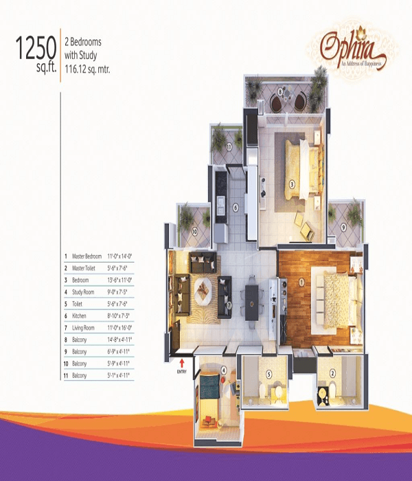 mangalya ophira floor plan 2bhk 2toilet 1250 sq.ft