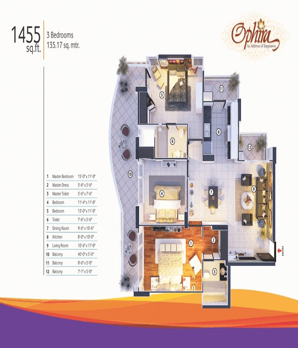 mangalya ophira floor plan 3bhk 2toilet 1455 sq.ft