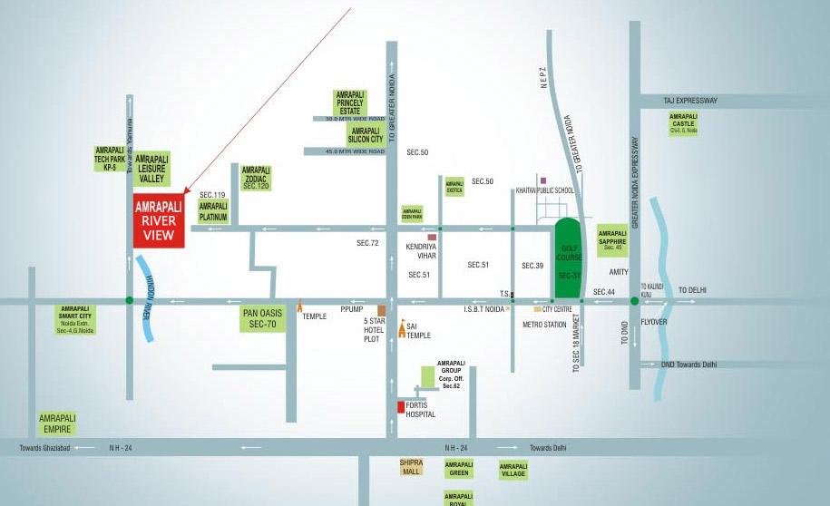 amrapali-riverview-location-map