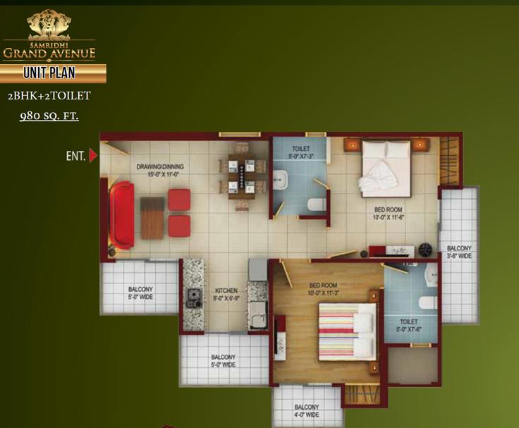 Samridhi grand avenue floor plan 2bhk 2toilet 980 sq.ft