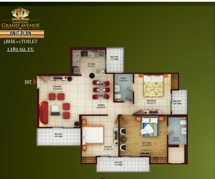Samridhi grand avenue floor plan 3bhk 2toilet 1380 sq.ft