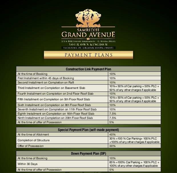 Samridhi grand avenue payment plan
