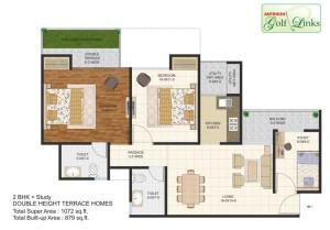 antriksh golf links floor plan 2bhk 2toilet 1072 sq.ft